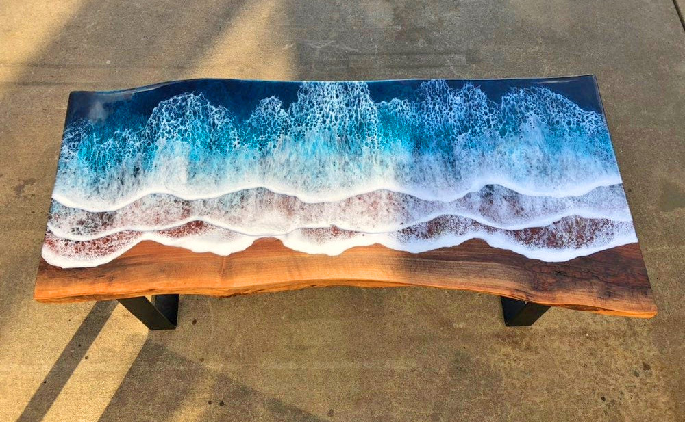 Wooden Slab Table With Ocean Waves Washing Onto Shore - Incredible design resin ocean waves coffee table