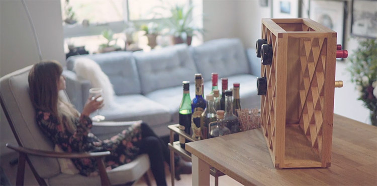 Harlequin Pinetti Optical Illusion Wooden Wine Rack