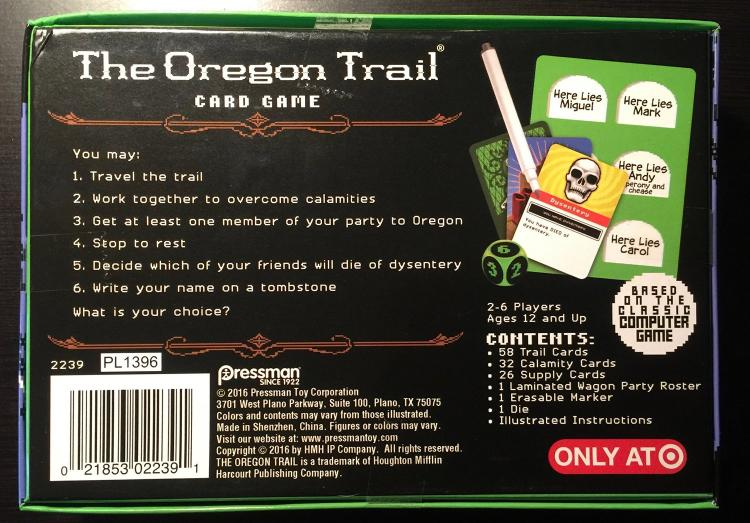 Oregon Trail Party Card/Board Game