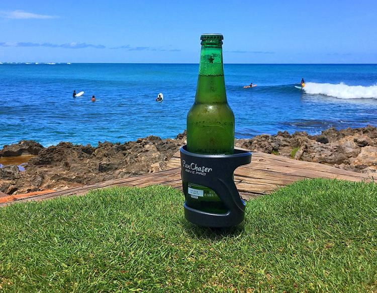 Outdoor Beer Holder - Sunchaser Bevi Pro - Suction, strap, or stick your beer or mixed drink outdoors - prevent spilling beer