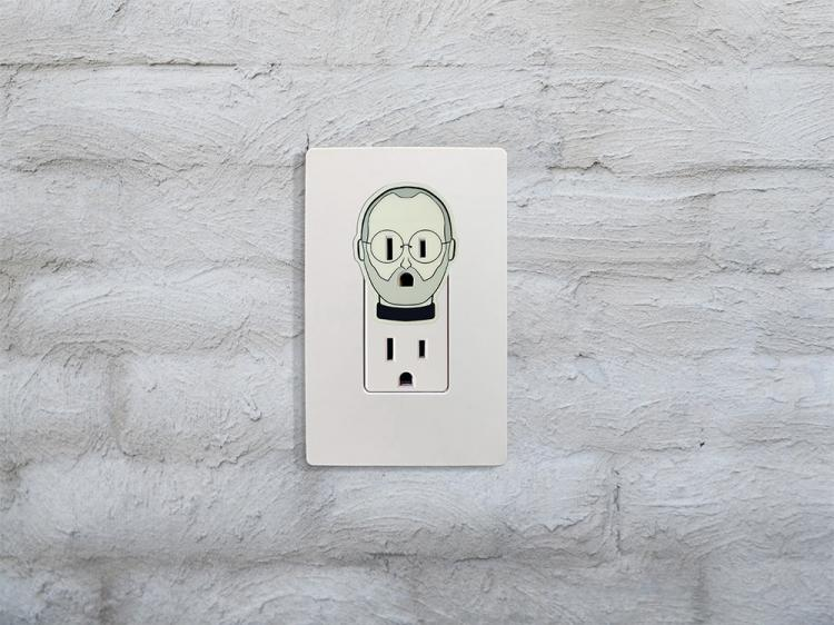 Urban Outlights - Glow-in-the-dark outlet decals - Steve Jobs outlet Decal - Outlet night-light decal