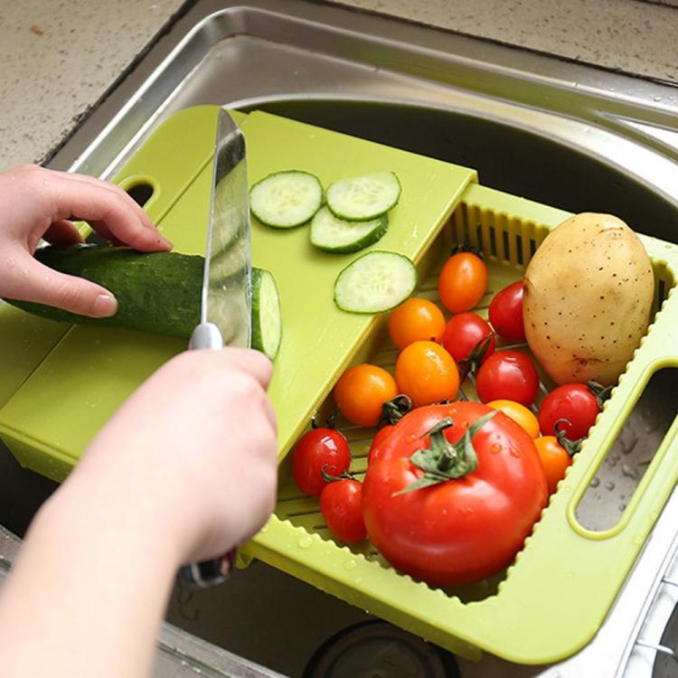 To Use The Device, Simply Place It Over Sink, Slide The Colander Out, Rinse  And Clean Your Food, Place Your Items On The Chopping Board To Be Chopped,  ...