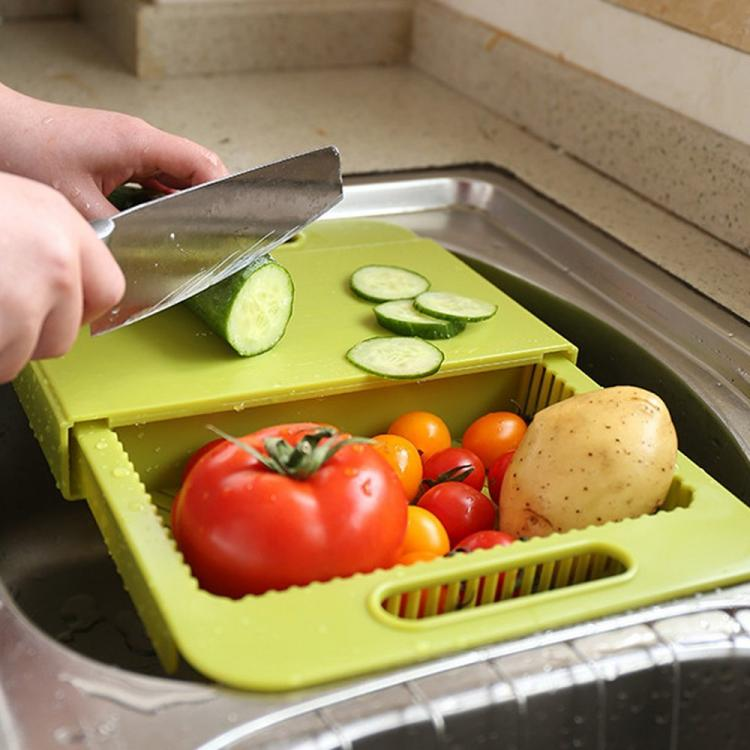 3-in-1 Over The Sink Cutting Board - Cutting Board, Colander, Storage Bin - Cool Kitchen Gadget