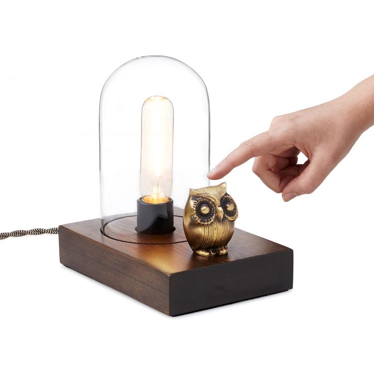 Owl Lamp Touch Light With Vintage Edison Bulb
