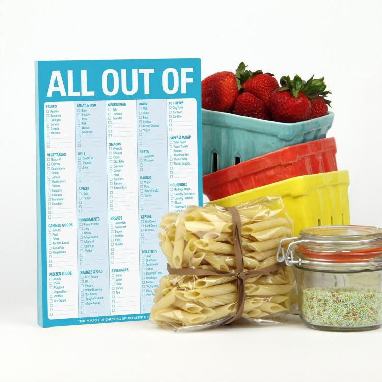 All out of reminder checklist - reminder notepad to remember to get food