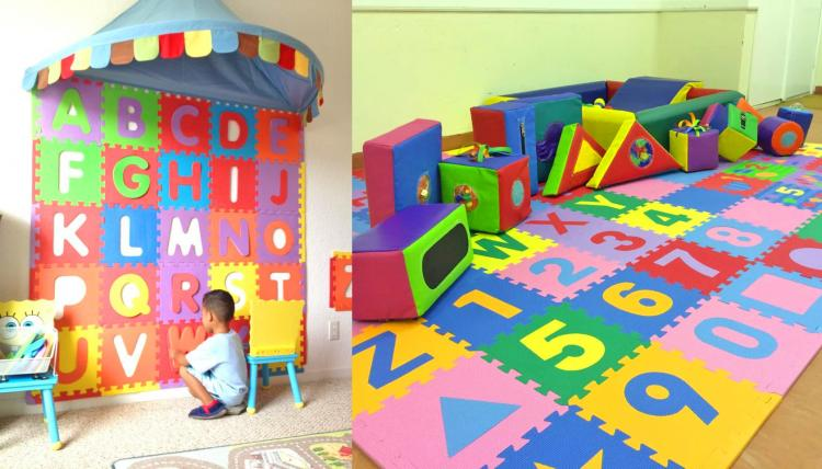 Interlocking Letter Foam Tile Play Mats Let You DIY a Mini Kids Ball Pit - ABC foam tiles ball pit - letters jigsaw puzzle piece pads