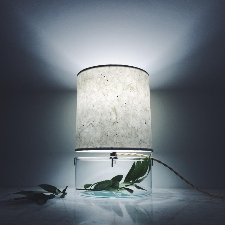 Well-liked This Paper Lampshade Table Lamp Has a Glass Base For a Plant Terrarium UT63