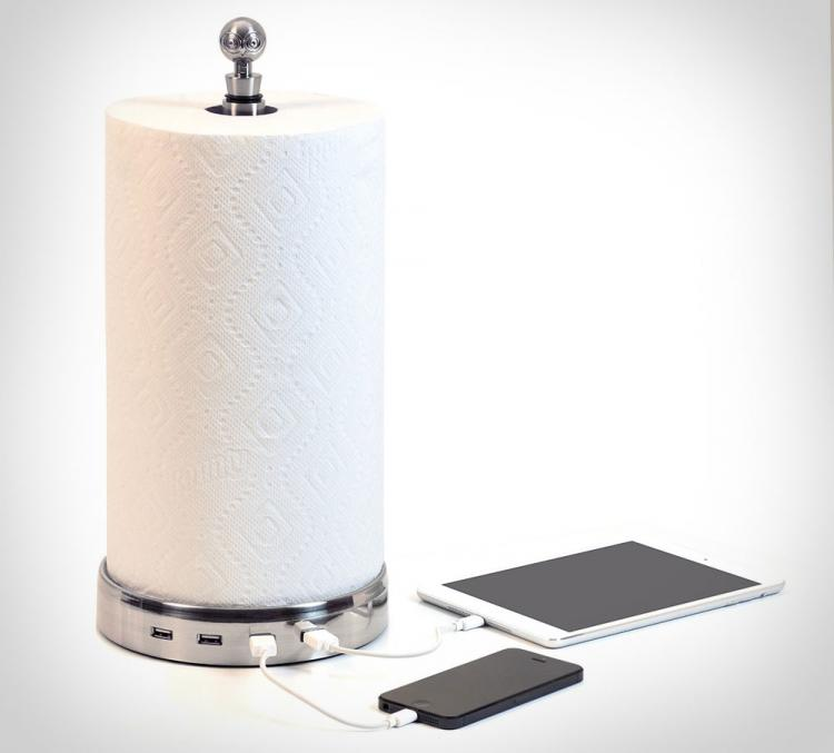 TowlHub - Paper Towel Holder USB Hub Phone/Tablet Charger