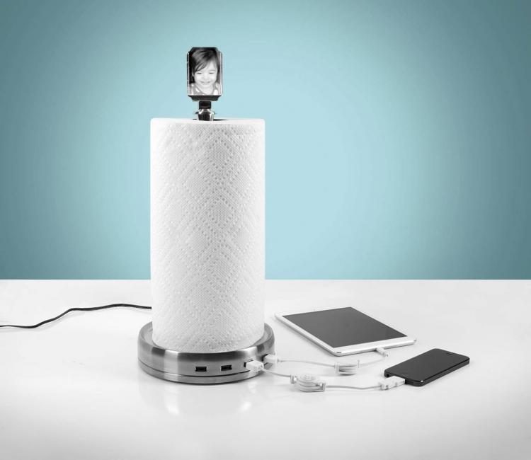 Travel Paper Towel Holder: TowlHub: Paper Towel USB Charger Hub