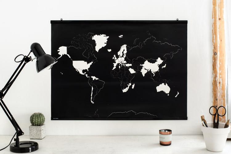 Peel Away Travel Map - Peel Off Travel Map Poster - Black Matte