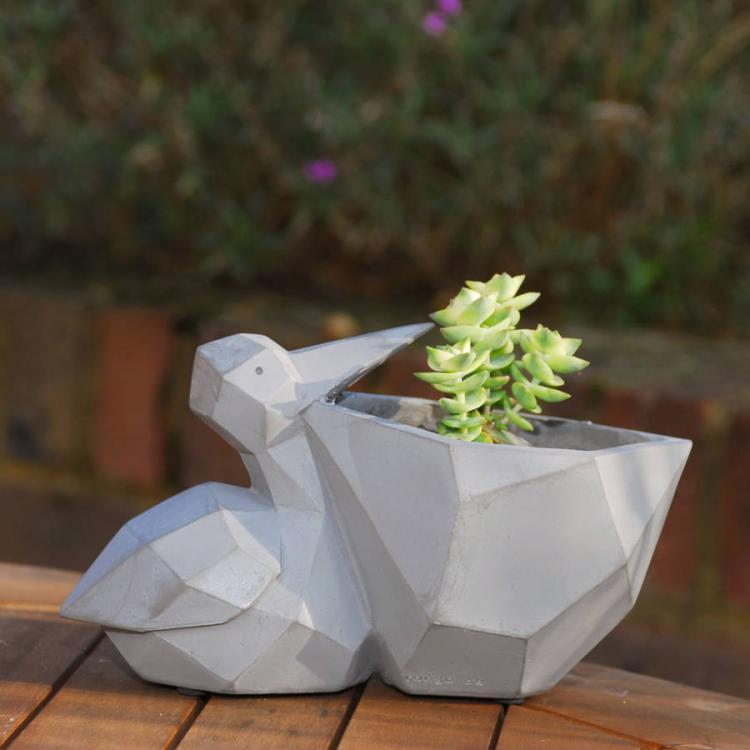 geometric pelican flower pot