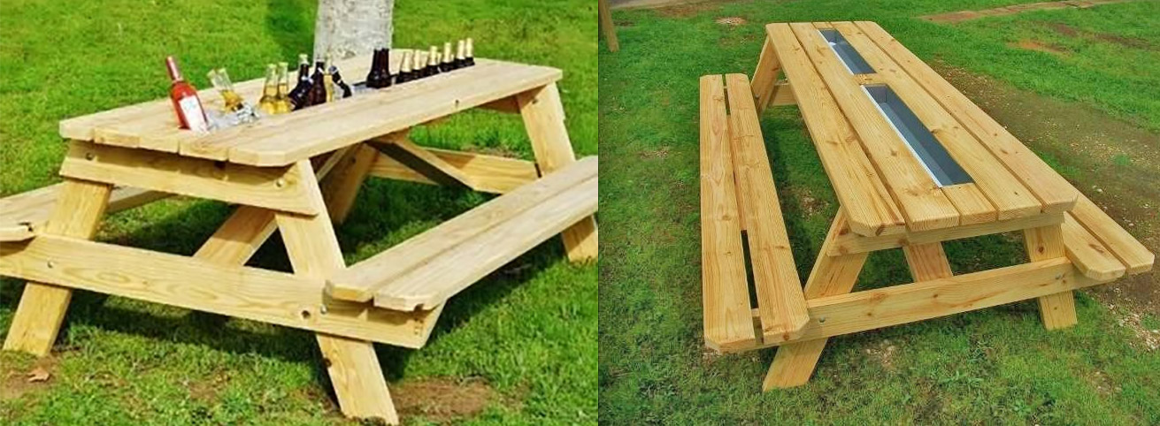 Picnic Tables With Built-In Drink Cooler Troughs - DIY picnic table drink trough