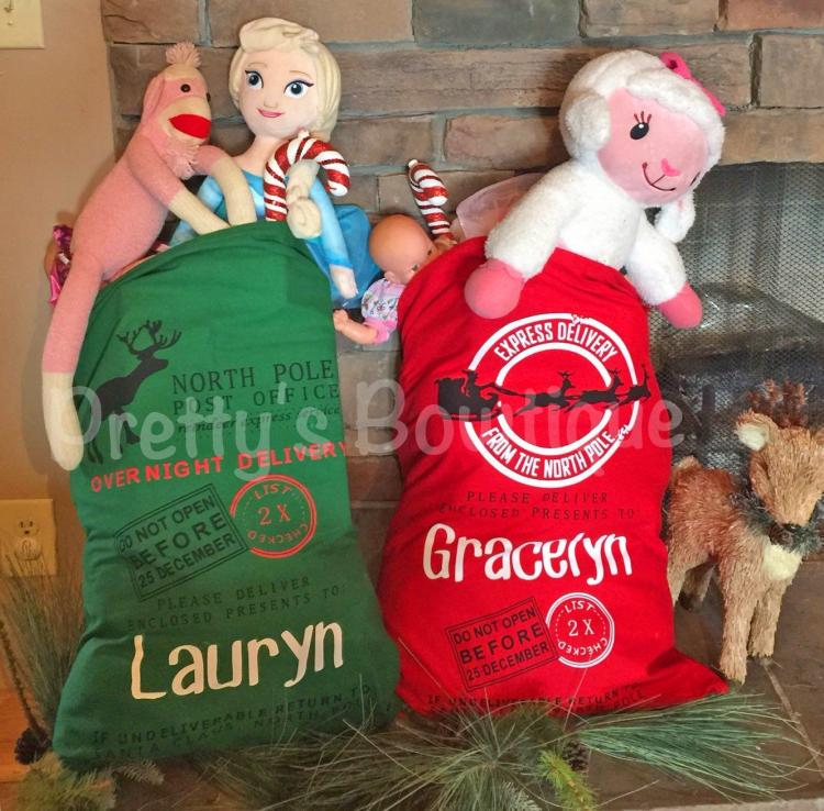 Personalized Gift Sacks From Santa - Custom Child's name Santa Chistmas present bag