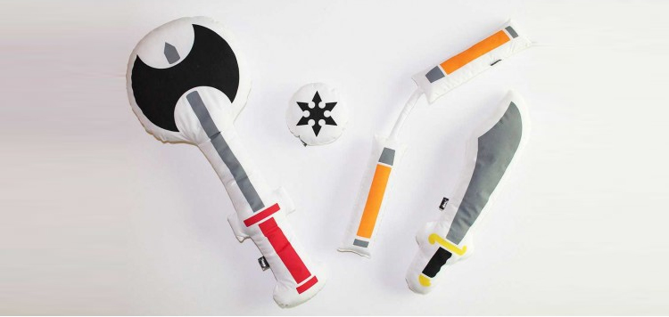 Pillow Fight Weapons - Soft weapon shaped pillows for pillow fights