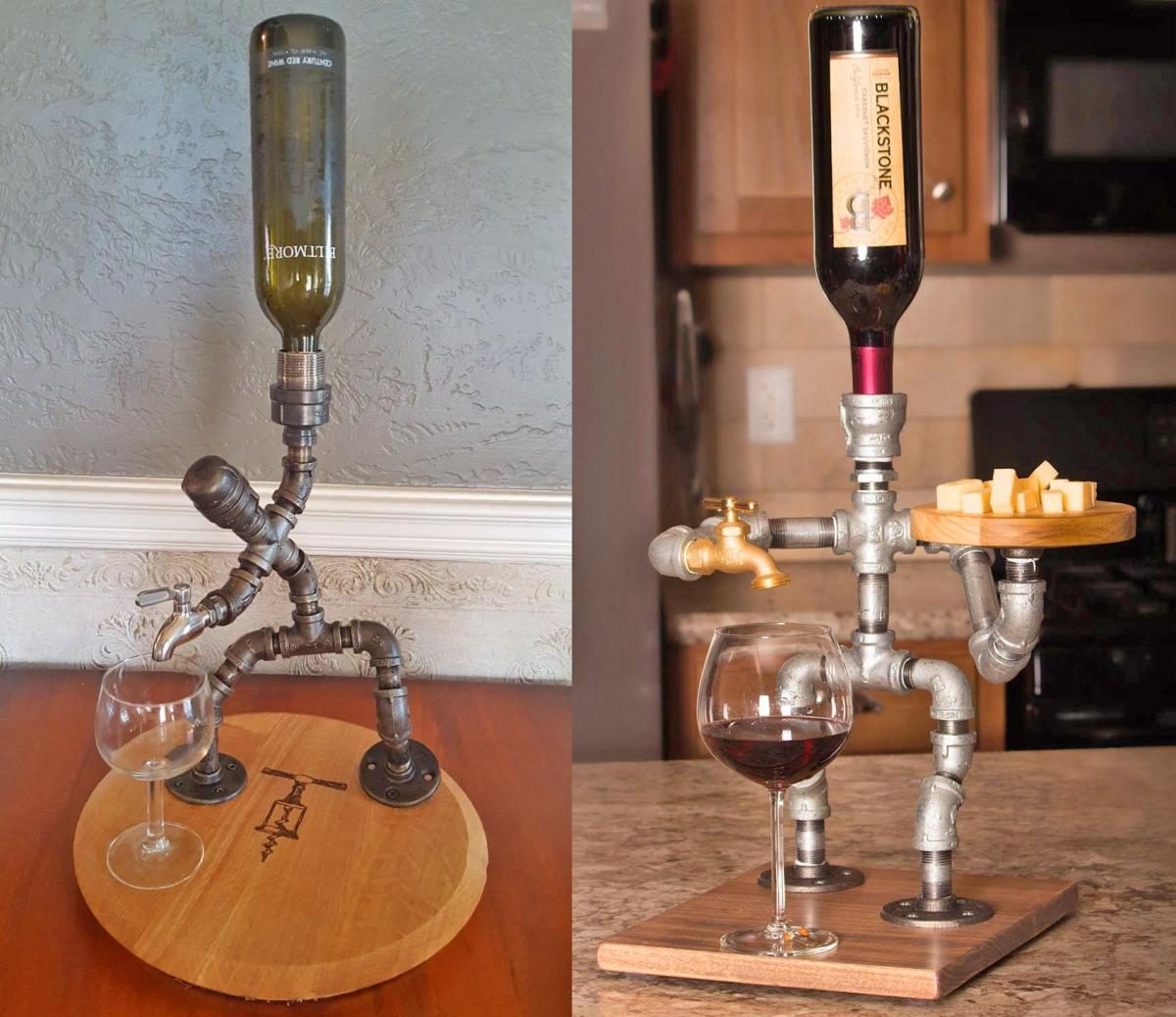 Pipe Man Liquor Dispensers - Industrial design DIY homemade booze dispenser made from metal piping