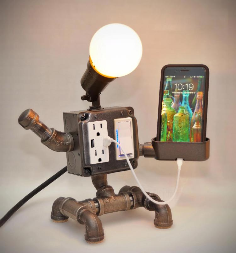 Pipe Robot Lamp Plug And Gadget Holder