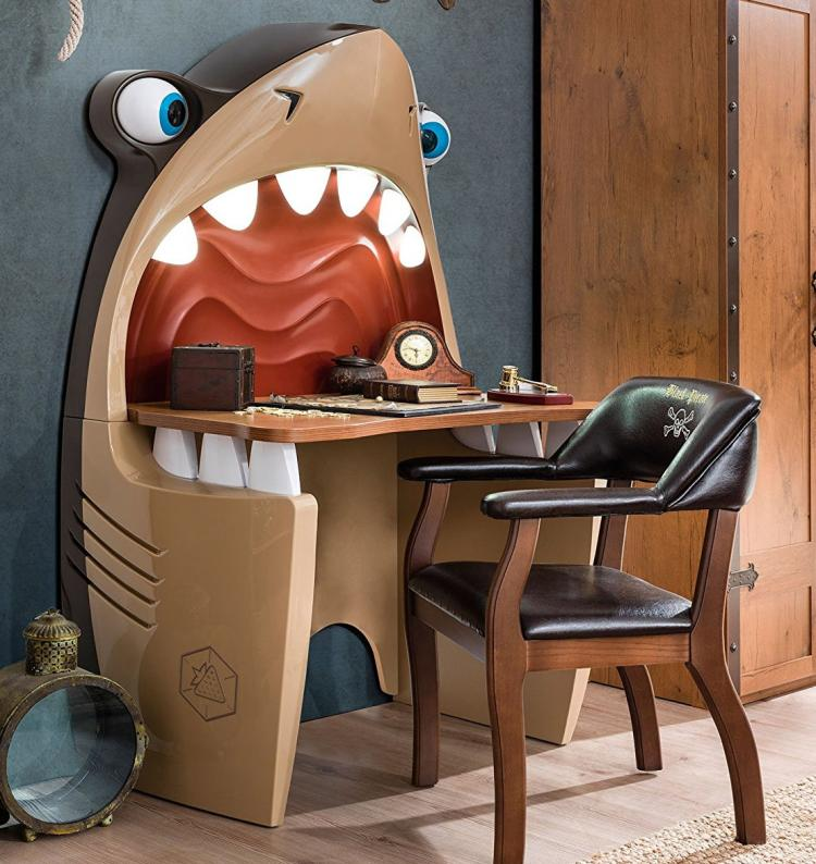 Pirate Shark Kids Desk With Light Up Teeth And Rolling Eye Balls