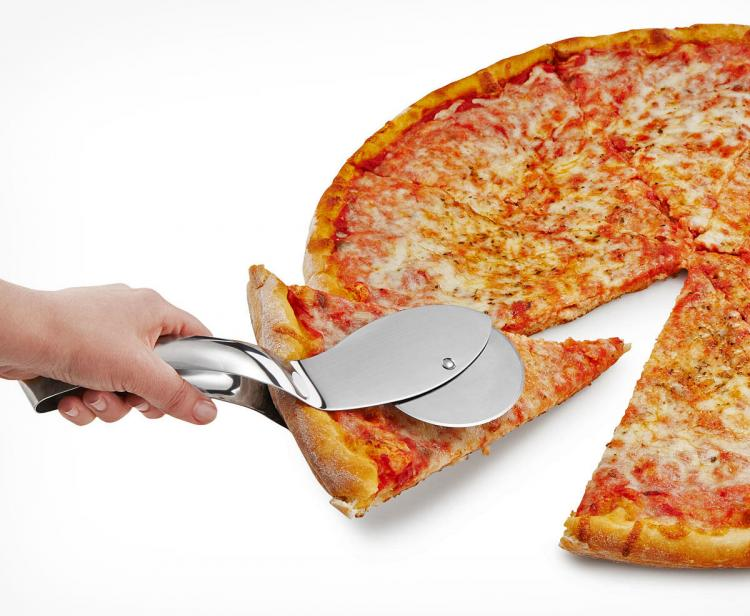 Pizza Cutter That Doubles as Server With Tongs