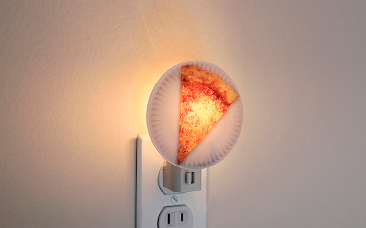 Pizza Slice on Paper Plate Night Light