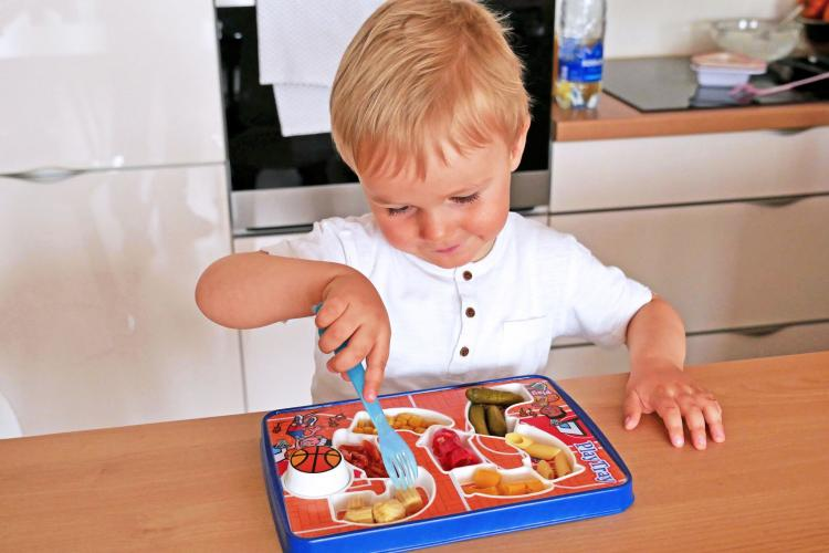 PlayTray Kids Food Tray Makes Mealtime Fun - Kids food tray with surprise toy at end