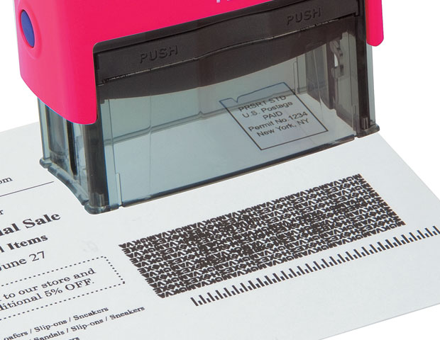 Plus Guard Rolling Black-Out Stamp - Random letters stamp out personal information, names, addresses, and confidential documents