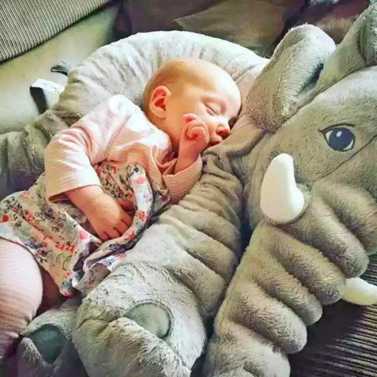 Plush Baby Elephant -Baby snuggling an elephant - Elephant pillow for babies