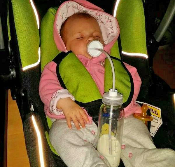 Podee Hands-Free Baby Bottle Feeder System - Long tube pacifier bottle feeder - car seat hands-free baby feeder