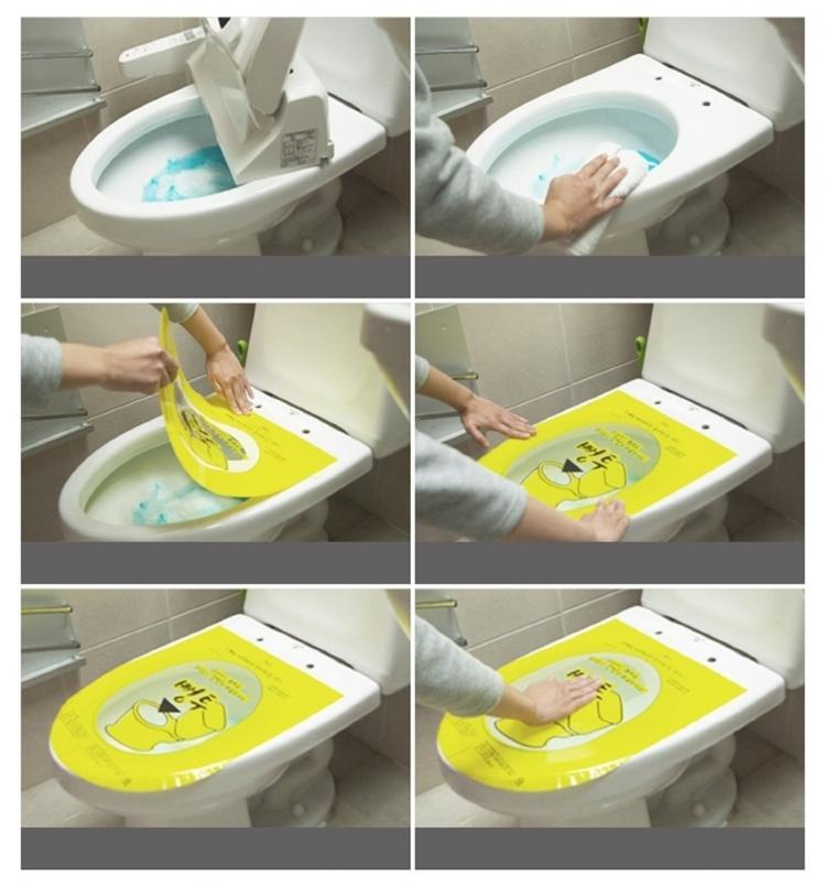 Pongtu Korean Sticker Toilet Plunger - Yellow sticker toilet plunger unclogs toilet by pushing on bubble