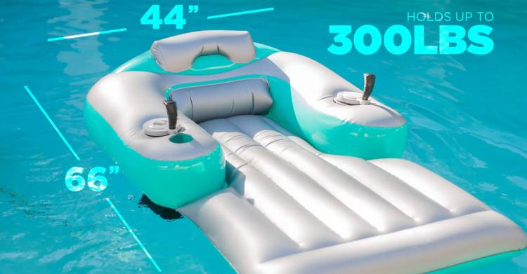 Pool Candy Motorized Pool Lounger - Dual motor inflatable pool floaty with joysticks