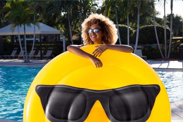 Sunglasses Smiley Emoji Pool Float - Giant Emoji Shaped Pool Floats