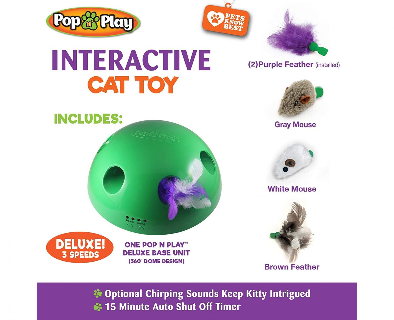 Pop N' Play Cat Teaser - Automatic rotating cat toy dome