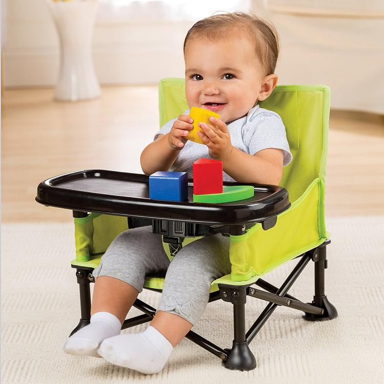 Portable Highchair Folds Up For Feeding The Baby On The Go