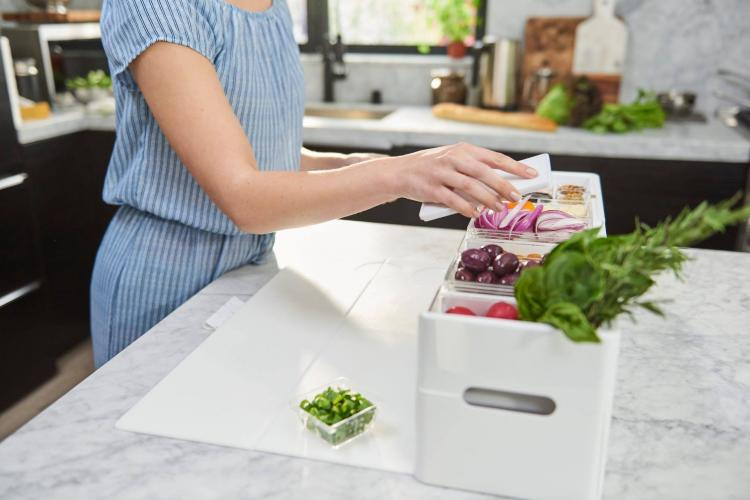 Prepdeck all-in-one food prep hub - magnetic cutting board cooking hub