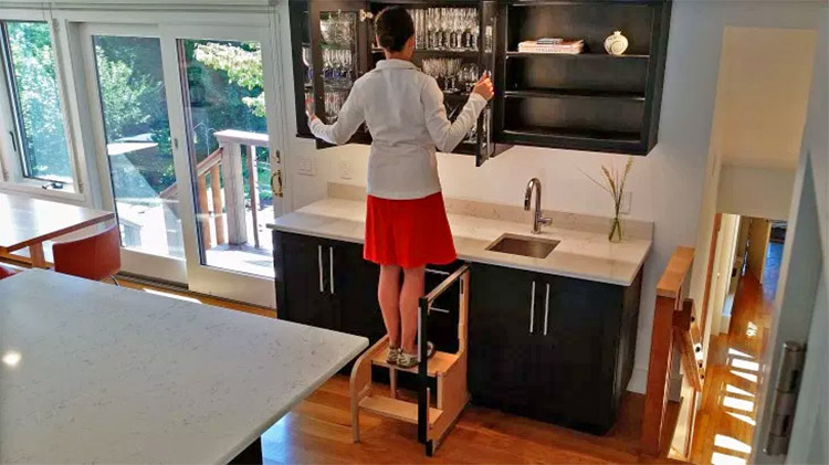 This Incredible Hideaway Step Stool Pulls Out From The Cabinet