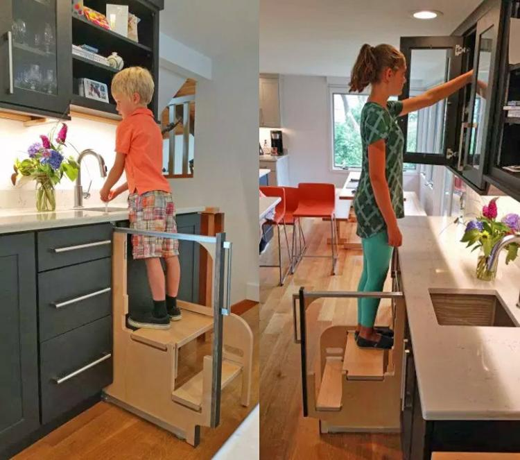 Folding Step Stool Pulls Out From Cabinet
