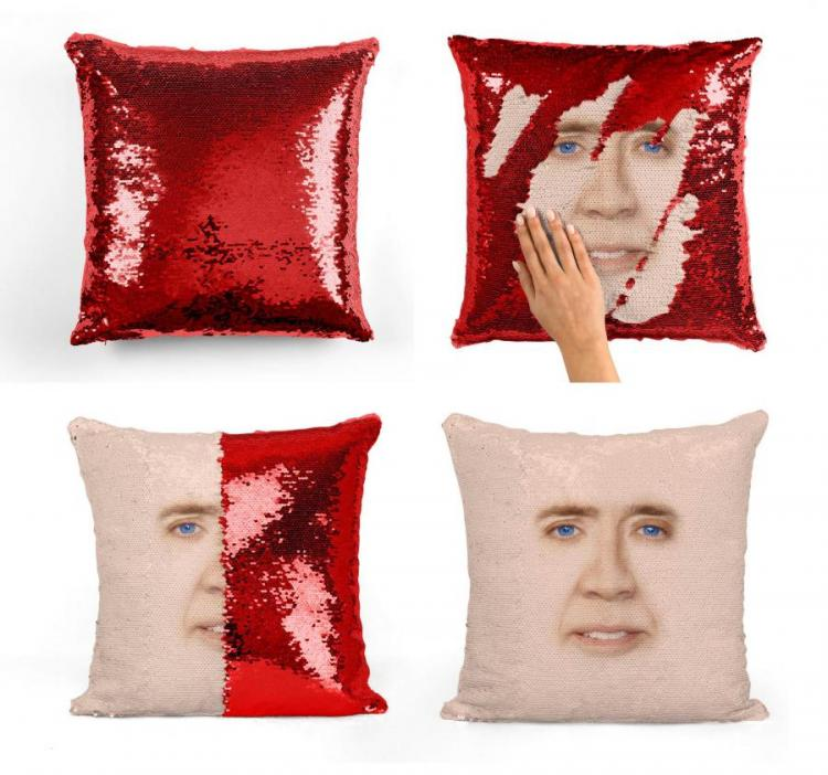 Nicolas Cage Sequin Pillow Reveals Nicolas Cage