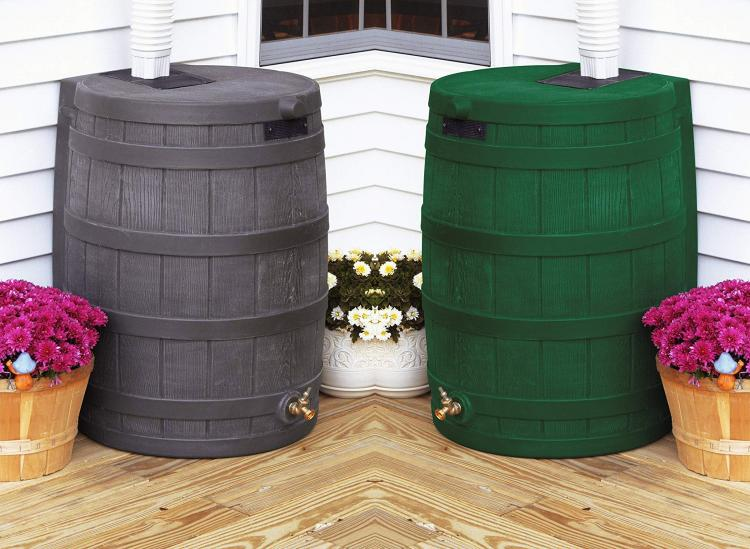 Whiskey Barrel Rain Barrel - Rain Wizard connects to your gutter downspout