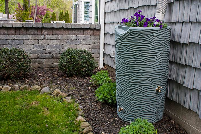 Tree Trunk Rain Barrel - Rain Wizard connects to your gutter downspout