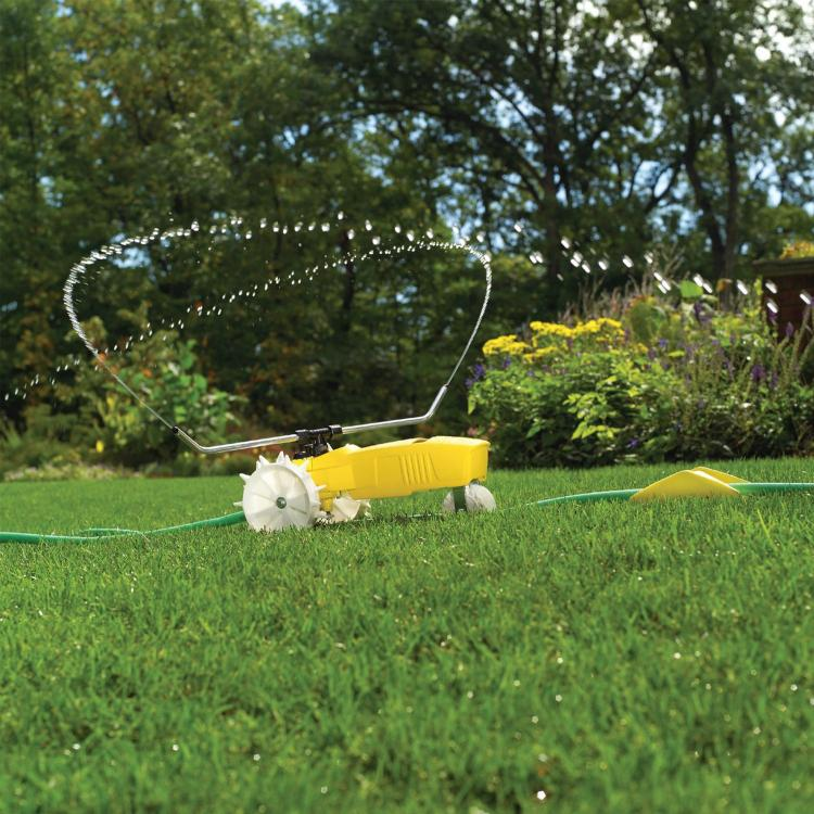 Raintrain Traveling Sprinkler - Robotic sprinkler crawls across lawn