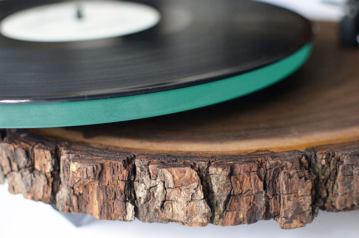 Record Player Made From a Tree Trunk