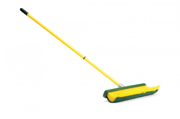 Renegade Broom - Designed like a rake to use on any surface or terrain - curved bristle broom