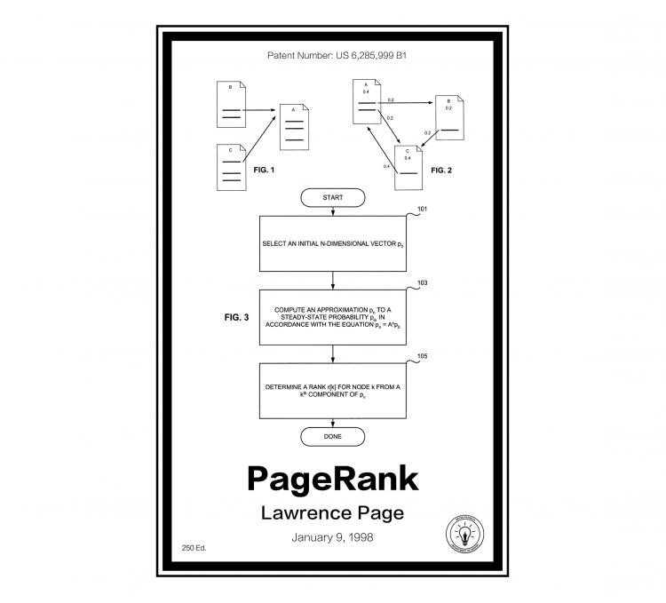 Google Page Rank Retro Patent Print Designs - Technology and Gadget patent prints you can hang on your wall