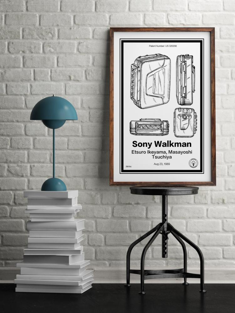 Sony Walkman Retro Patent Print Designs - Technology and Gadget patent prints you can hang on your wall