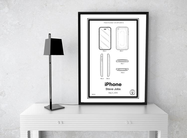 Apple iPhone Retro Patent Print Designs - Technology and Gadget patent prints you can hang on your wall