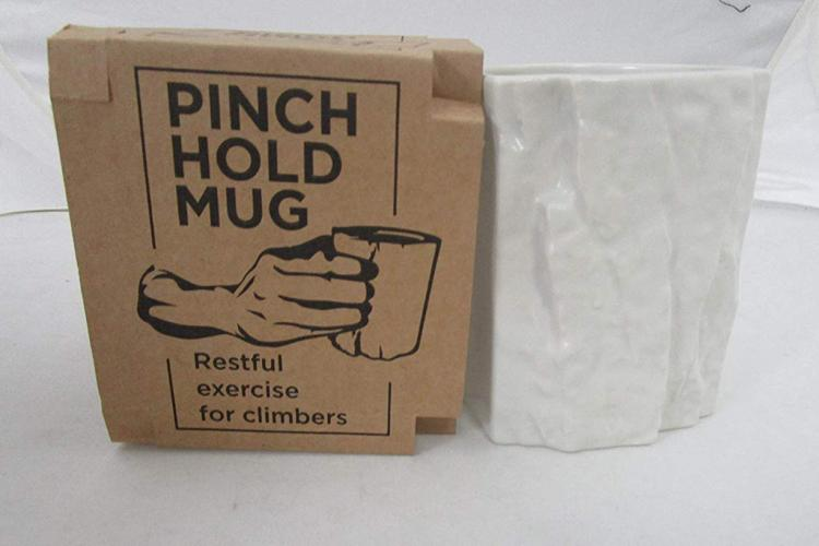 Rock Climbers Pinch Hold Coffee Mug - Rock cliff texture mug