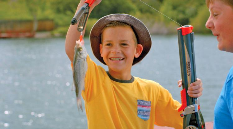 Rocket kids fishing rod launches out a bobber instead of for Youth fishing pole