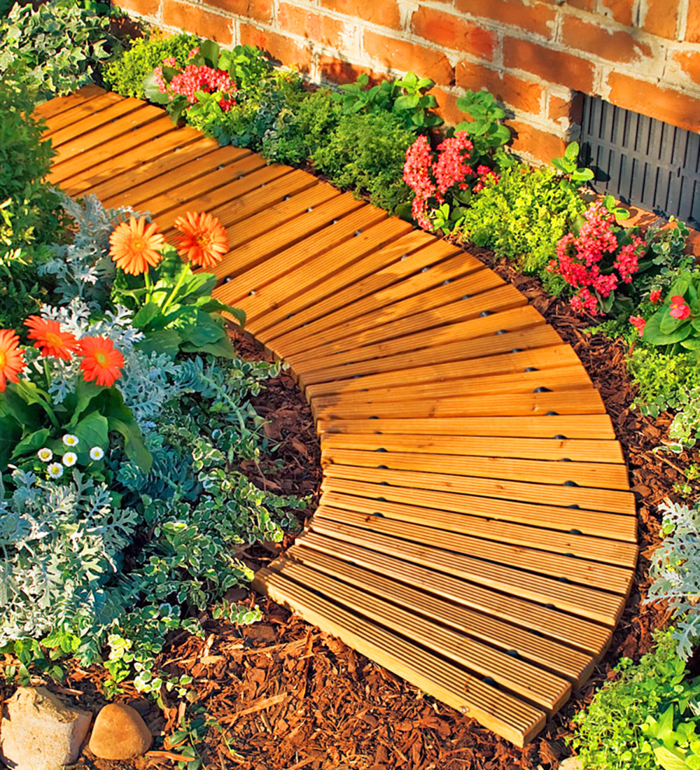 Roll-Out Wooden Walkway - Portable Roll-Out Curved Hardwood Pathway