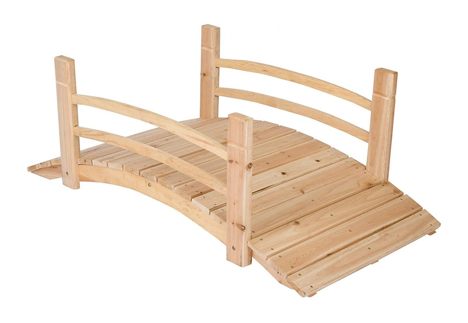 Wooden bridge for roll-out wooden pathway