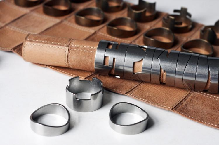 Classy Roll-Up Leather Chess Set - Stainless Steel Pieces