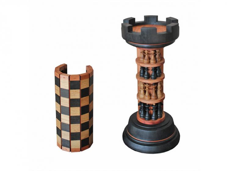 Rook Tower Pack-away Wooden Chess Board - Rook piece shaped wooden chess board - beautiful design wooden chess board with flexible board
